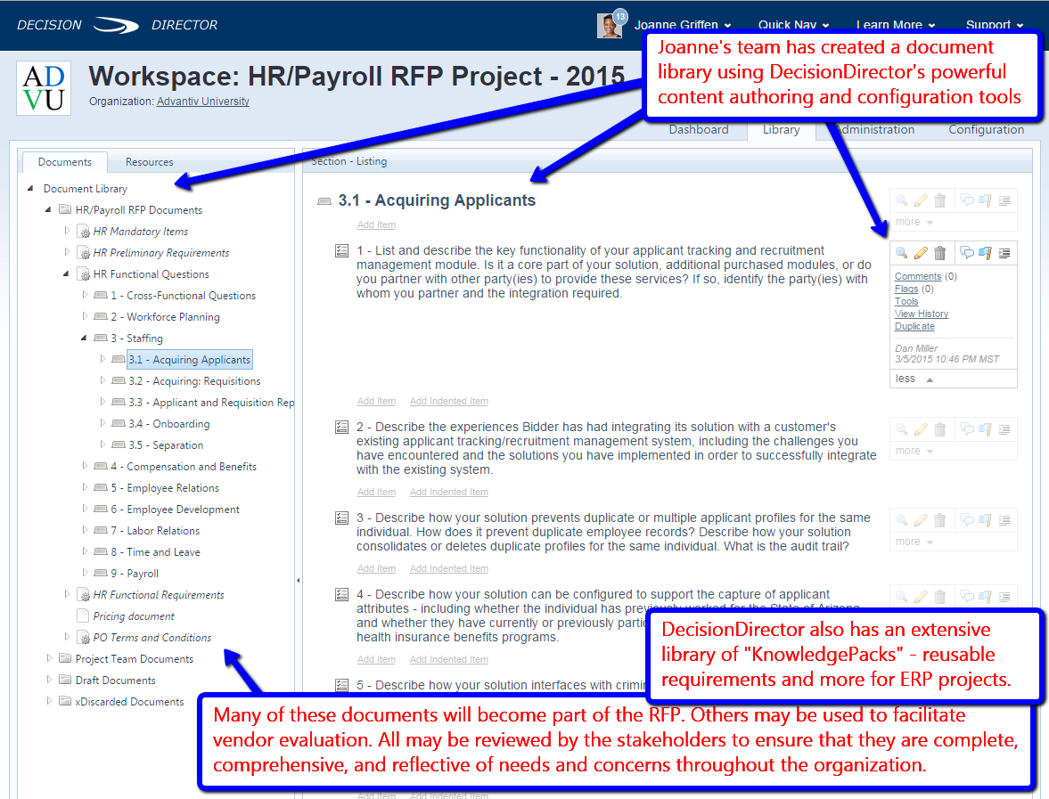Creating the RFP documents and requirements